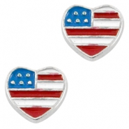 Floating Charms hartje USA Antiek zilver-blauw rood wit