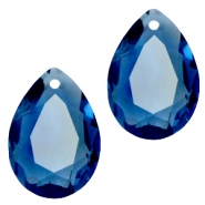 Druppelvorm hangers SQ facet 10x14mm Montana blue