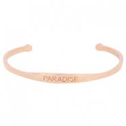 "Stainless steel armband met quote ""PARADISE"" Rosegold"