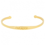 "Stainless steel armband met quote ""PARADISE"" Goud"