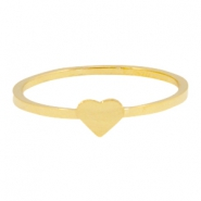 Stainless steel ring hart 19mm Goud