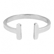 Stainless steel ring double bar 17mm Zilver