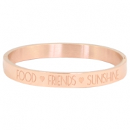 "Stainless steel armband met quote ""food♡friends♡sunshine"" Rosegold"