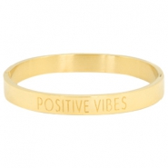 "Stainless steel armband met quote ""POSITIVE VIBES"" Goud"