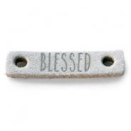 DQ leer tussenstukken BLESSED Light grey