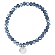 Top facet armbandjes Sisa 6x4mm (RVS bedel) Montana blue-pearl diamond coating