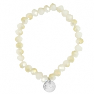 Top facet armbandjes Sisa 8x6mm (RVS bedel) White alabaster-light gold diamond coating
