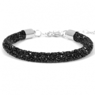 Crystal diamond armbanden 7mm Jet black