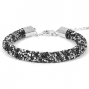 Crystal diamond armbanden 8mm Jet black-labrador silver