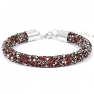 Crystal diamond armbanden 8mm Siam red-anthracite