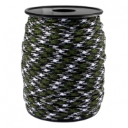Trendy koord Paracord 4mm Army green-zwart wit