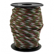 Trendy koord Paracord 4mm Army green-aubergine wit