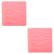 20 mm platte vierkante cabochon Polaris Elements Peachy coral pink