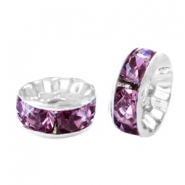 Strass kralen rondellen 8mm Silver-light aubergine purple
