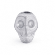 Hematite Kralen Skull Light grey matt