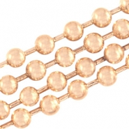 DQ Ball chain / bolletjesketting 2 mm  DQ Rose Gold plated duurzame plating