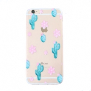 Trendy telefoonhoesjes voor iPhone 7 cactus & flowers Transparent-blue pink