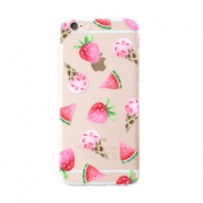 Trendy telefoonhoesjes voor iPhone 6 Plus icecream & fruit Transparent-pink green