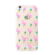 Trendy telefoonhoesjes voor iPhone 5 flamingo & pineapple Transparent-yellow pink