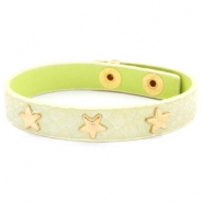 Trendy armbanden reptile met studs gold star Pastel yellow green