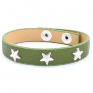Trendy armbanden met studs silver star Army green