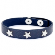 Trendy armbanden met studs silver star Dark denim blue