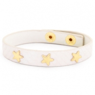 Trendy armbanden reptile met studs gold star Creamy white