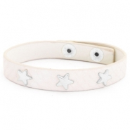 Trendy armbanden reptile met studs silver star Creamy white
