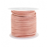 DQ leer rond 1 mm Vintage rose metallic