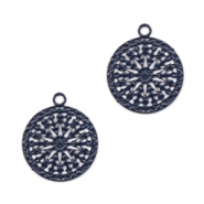 Hangers bohemian rond met oog 12mm Nightshadow blue