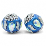 Bohemian kralen 16mm Olympic blue-silver crystal