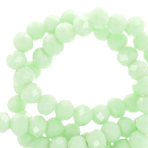 Top Facet kralen 6x4 mm disc Pastel green-pearl shine coating