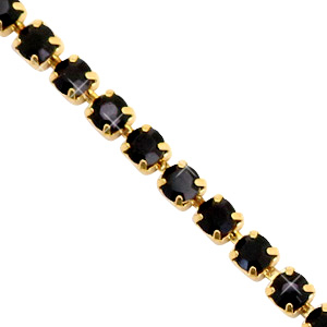 Strass chain Black-gold