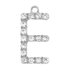 Basic quality metalen bedels strass initial E Antiek zilver